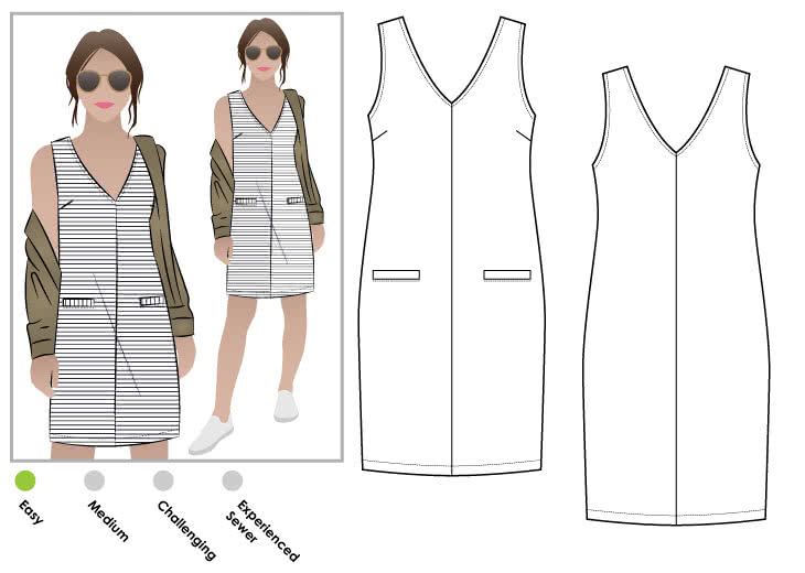"Sia Knit Dress Sewing Pattern By Style Arc - Sleeveless shift dress with front and back ""V"" neck."