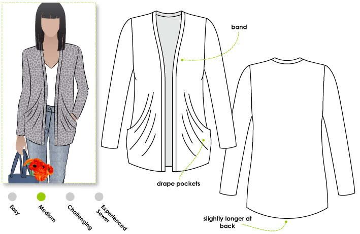 Simone Knit Cardigan Sewing Pattern By Style Arc - Versatile drape pocket cardigan