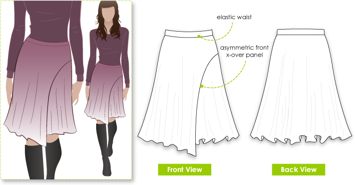 Shelly Skirt Sewing Pattern By Style Arc - Knit skirt with wrap asymmetrical front