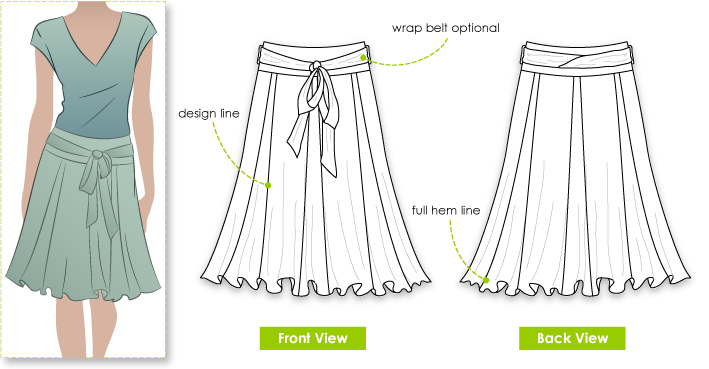 Lisa Skirt Sewing Pattern By Style Arc - You will enjoy this great full knee length skirt