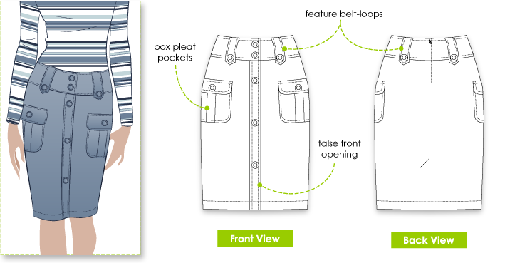 Samantha Skirt Sewing Pattern By Style Arc - Pull on straight skirt with buttons and patch pockets