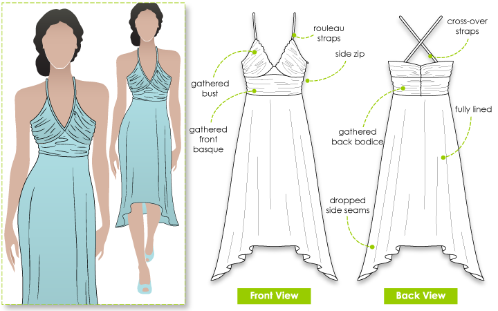Natalie Dress Sewing Pattern By Style Arc - Beautiful dress with gathered bodice and bust