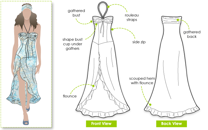 Morgan Dress Sewing Pattern By Style Arc - Romantic dress with sexy front split and frill