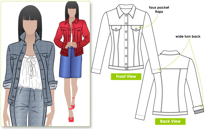 Stacie Jean Jacket Sewing Pattern By Style Arc - Trendy jean, denim or woven jacket