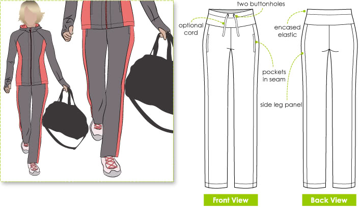 Sunday Walking Pant Sewing Pattern By Style Arc - Pull on straight leg walking pant with design feature