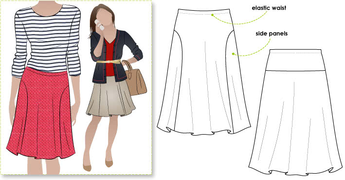 Susan Skirt Sewing Pattern By Style Arc - Elastic waist makes this skirt so wearable
