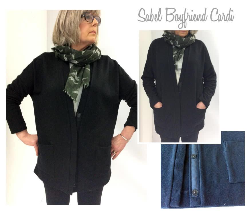 Sabel Boyfriend Cardi Sewing Pattern By Style Arc - Oversized knit square cut cardigan