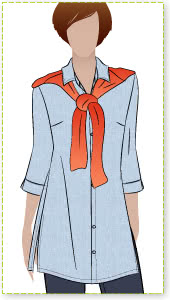 Sacha Shirt Sewing Pattern By Style Arc - Stylish long line over shirt with ¾ length sleeves
