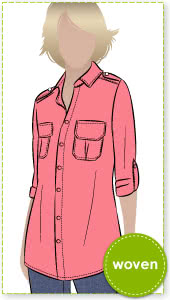 Safari Sam Overshirt Sewing Pattern By Style Arc - Safari-style shirt with roll-up sleeve