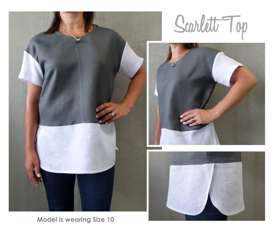 Scarlett Top Sewing Pattern By Style Arc - Spliced woven top with dropped armhole