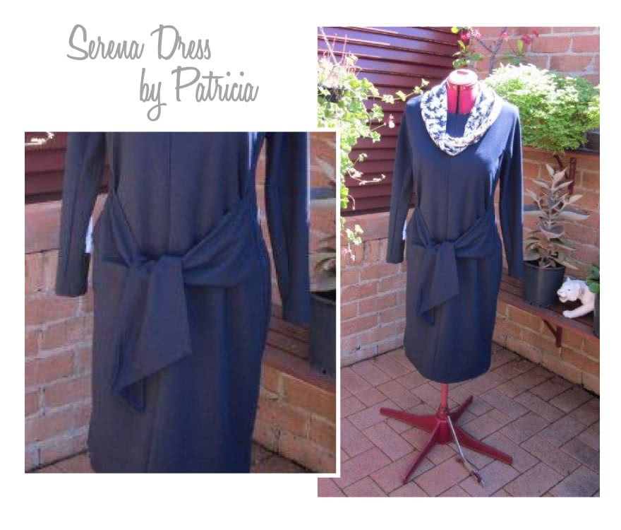 Serena Knit Dress Sewing Pattern By Patricia And Style Arc - All occasion dress with tie front and angled seams