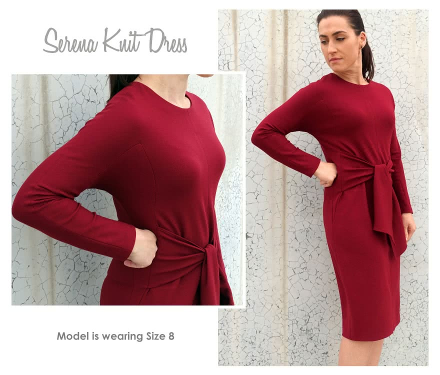 Serena Knit Dress Sewing Pattern By Style Arc - All occasion dress with tie front and angled seams