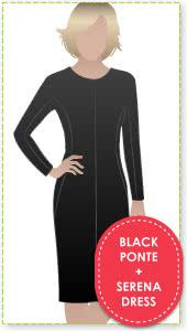 Serena Dress + Black Ponte Sewing Pattern Fabric Bundle By Style Arc - Serena Dress pattern + Black Ponte fabric
