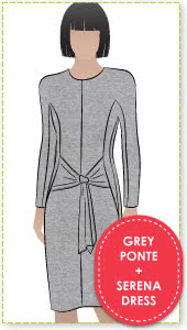 Serena Dress + Grey Ponte Sewing Pattern Fabric Bundle By Style Arc - Serena Dress pattern + Grey Ponte fabric