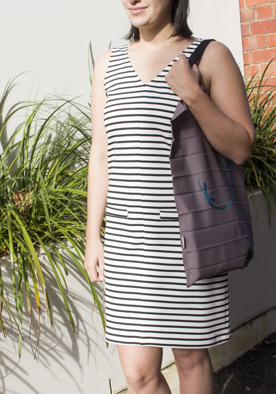 """Sia Knit Dress Sewing Pattern By Style Arc - Sleeveless shift dress with front and back """"V"""" neck."""