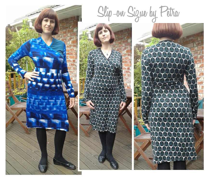 """Slip-On Suzie Sewing Pattern By Petra And Style Arc - Jersey """"faux wrap"""" dress with cap and long sleeves"""
