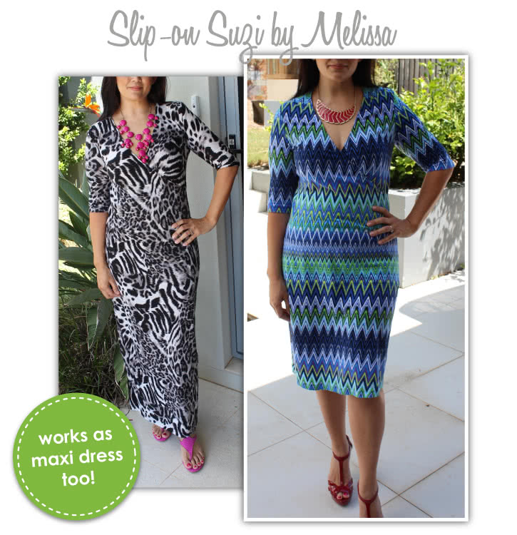 "Slip-On Suzie Sewing Pattern By Melissa And Style Arc - Jersey ""faux wrap"" dress with cap and long sleeves"