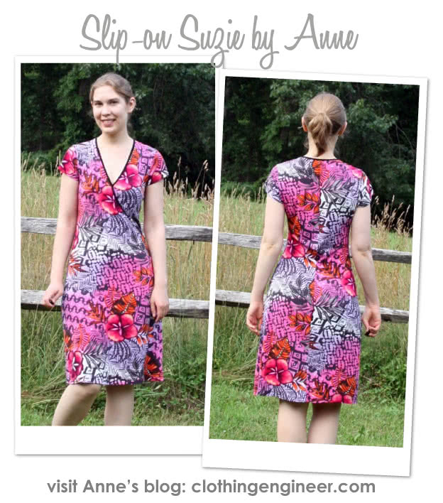 """Slip-On Suzie Sewing Pattern By Anne And Style Arc - Jersey """"faux wrap"""" dress with cap and long sleeves"""