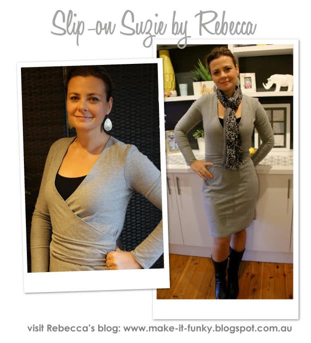 """Slip-On Suzie Sewing Pattern By Rebecca And Style Arc - Jersey """"faux wrap"""" dress with cap and long sleeves"""