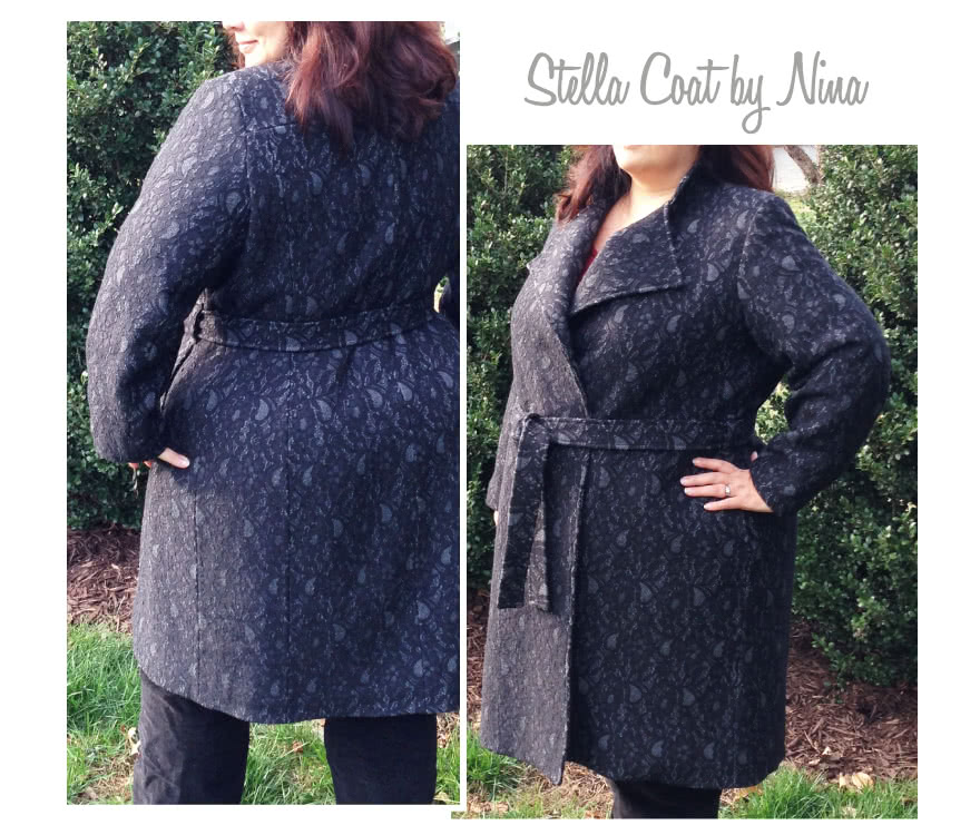 Stella Coat Sewing Pattern By Nina And Style Arc - Luxurious, versatile, easy to wear wrap coat