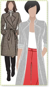 Stella Coat Sewing Pattern By Style Arc - Luxurious, versatile, easy to wear wrap coat
