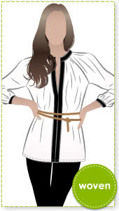 Stephanie Woven Blouse Sewing Pattern By Style Arc - Gathered neckline blouse with interesting front detail