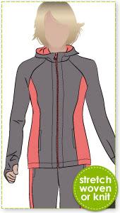 Sunday Zip Jacket Sewing Pattern By Style Arc - Designer zip front hooded walking jacket