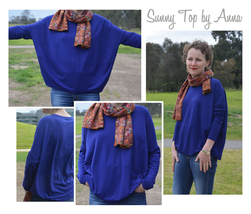 "Sunny Top Sewing Pattern By Anna And Style Arc - This is a great oversized knit top with the new ""cocoon"" shape"