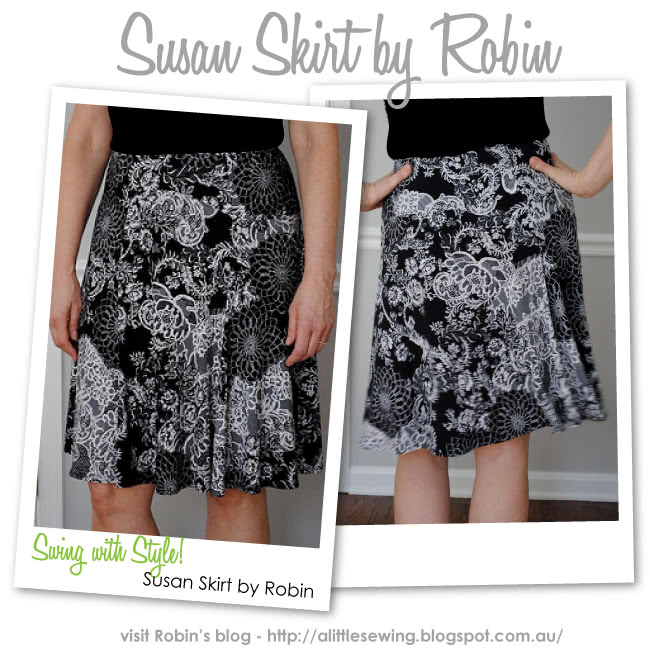 Susan Skirt Sewing Pattern By Robin And Style Arc - Elastic waist makes this skirt so wearable