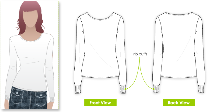 Kate Top Sewing Pattern By Style Arc - Long sleeve top with rib cuff