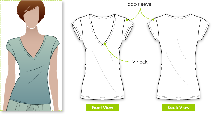 Lisa Top Sewing Pattern By Style Arc - Cap sleeve and V-neck - a must for everyone