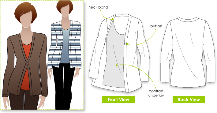 "Fay Top / Cardigan Sewing Pattern By Style Arc - Two garments in one - a ""must have"" top."