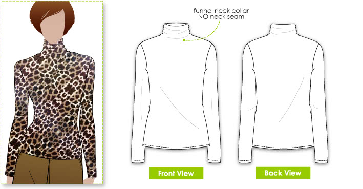 Debra Zebra Top Sewing Pattern By Style Arc - Funnel neck top with no neck seam
