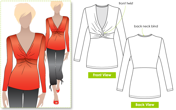 Twisting Tilly Top Sewing Pattern By Style Arc - Flattering twist front top
