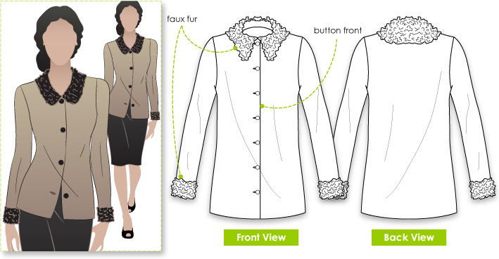 Lara Cardi Sewing Pattern By Style Arc - Fur finished figure hugging cardigan