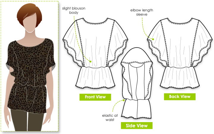 Island Ali Top Sewing Pattern By Style Arc - Flattering top with elastic waist and a flounce.