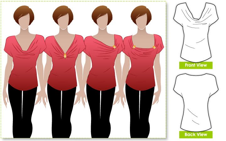 Creative Cate Top Sewing Pattern By Style Arc - Great versitile top that can be worn in different ways