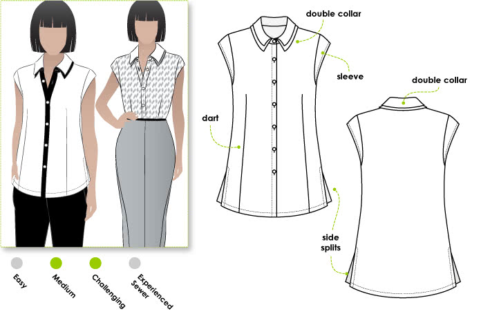 Tara Top Sewing Pattern By Style Arc - Interesting double collar shirt with a sleeve band