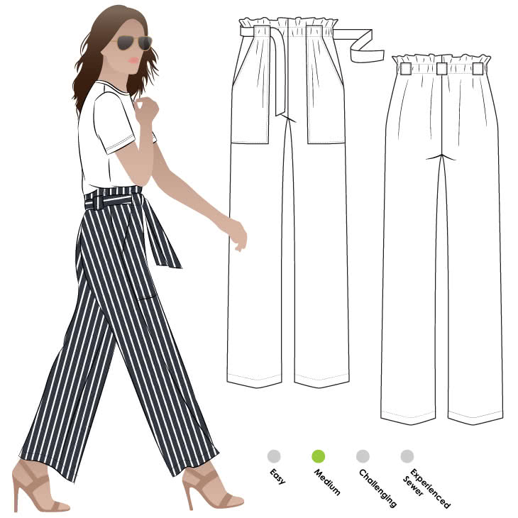 Thea Pant Sewing Pattern By Style Arc - Paper bag elastic waist pant with patch pockets and a wide leg.