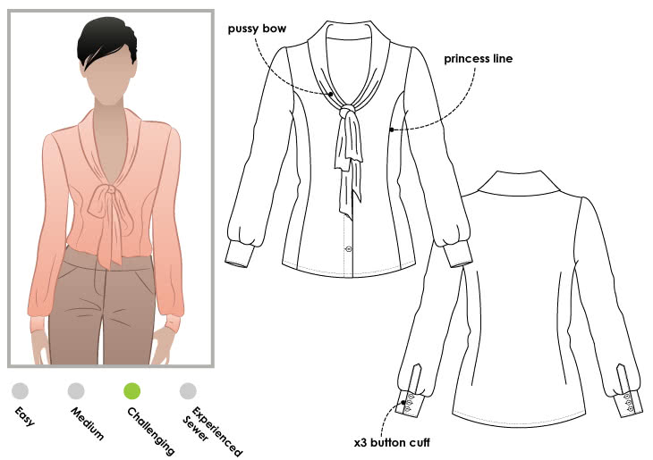 Tiffany Blouse Sewing Pattern By Style Arc - Pretty pussy bow blouse in soft fabric