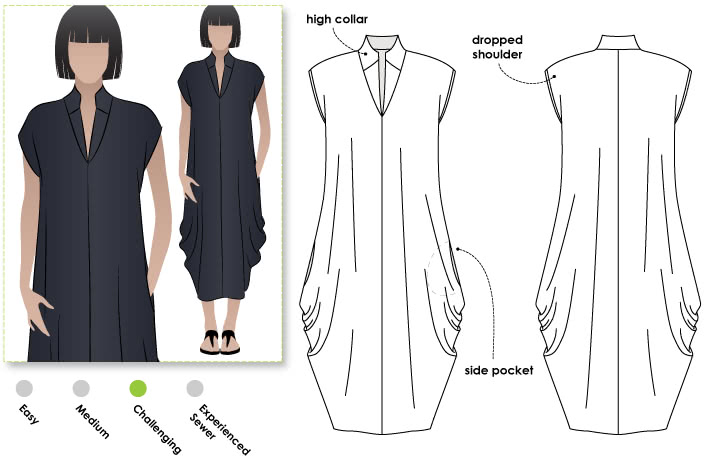 Toni Designer Dress Sewing Pattern By Style Arc - Fabulous long line designer dress