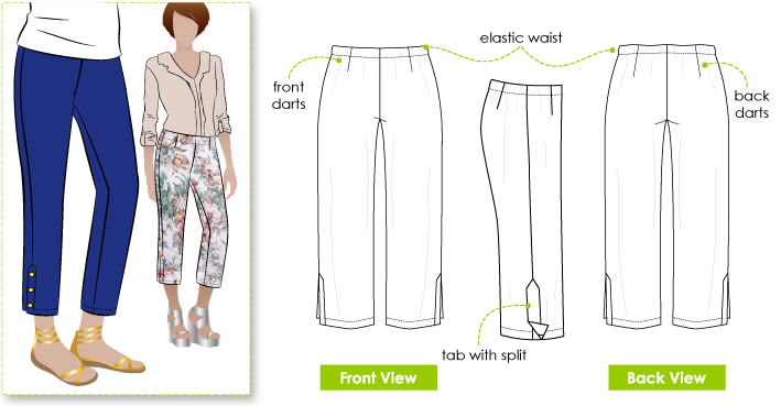 Tori Crop Pant Sewing Pattern By Style Arc - Easy wear pull on crop pant with side leg detail