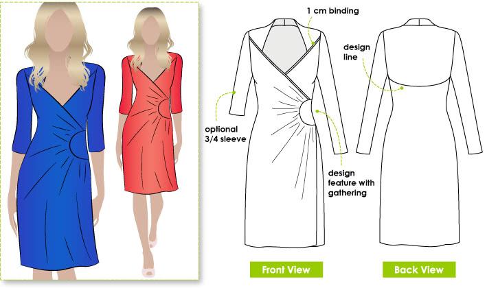 Trixi Knit Wrap Dress Sewing Pattern By Style Arc - A new take on the wrap dress