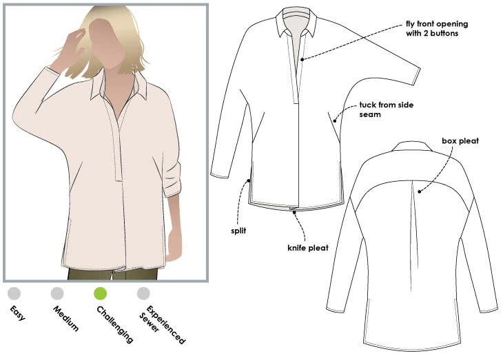 Trudy Tunic Sewing Pattern By Style Arc - Classic tunic with interesting dolman sleeve and shirt collar