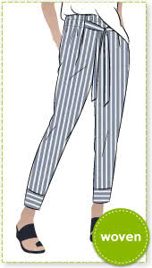 Tully Pant Sewing Pattern By Style Arc - 7/8th slim leg elastic paper bag waist pant.