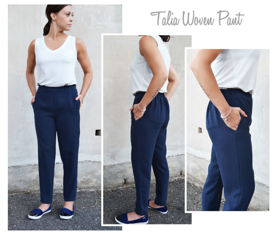 Talia Woven Pant Sewing Pattern By Style Arc - Stylish pull on pant with a lovely shaped leg.