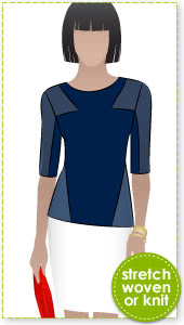 Tamara Knit Top Sewing Pattern By Style Arc - Interesting spliced knit top
