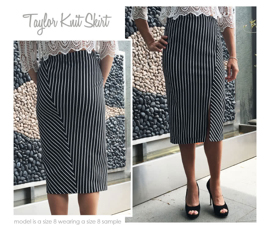 Taylor Knit Skirt Sewing Pattern By Style Arc - Pull-on tube skirt with angled design lines