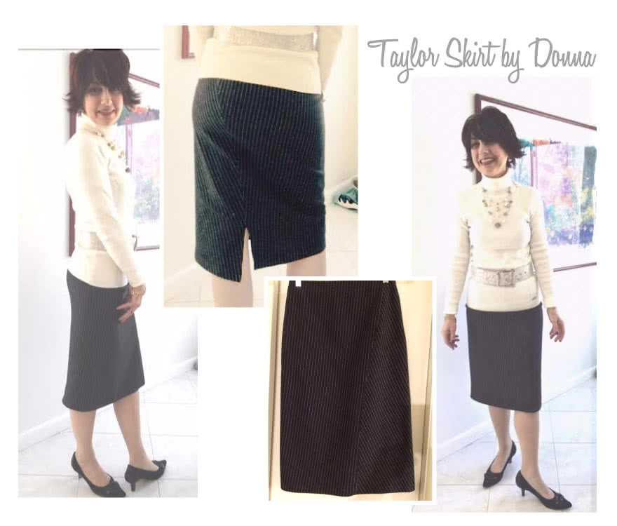 Taylor Knit Skirt Sewing Pattern By Donna And Style Arc - Pull-on tube skirt with angled design lines