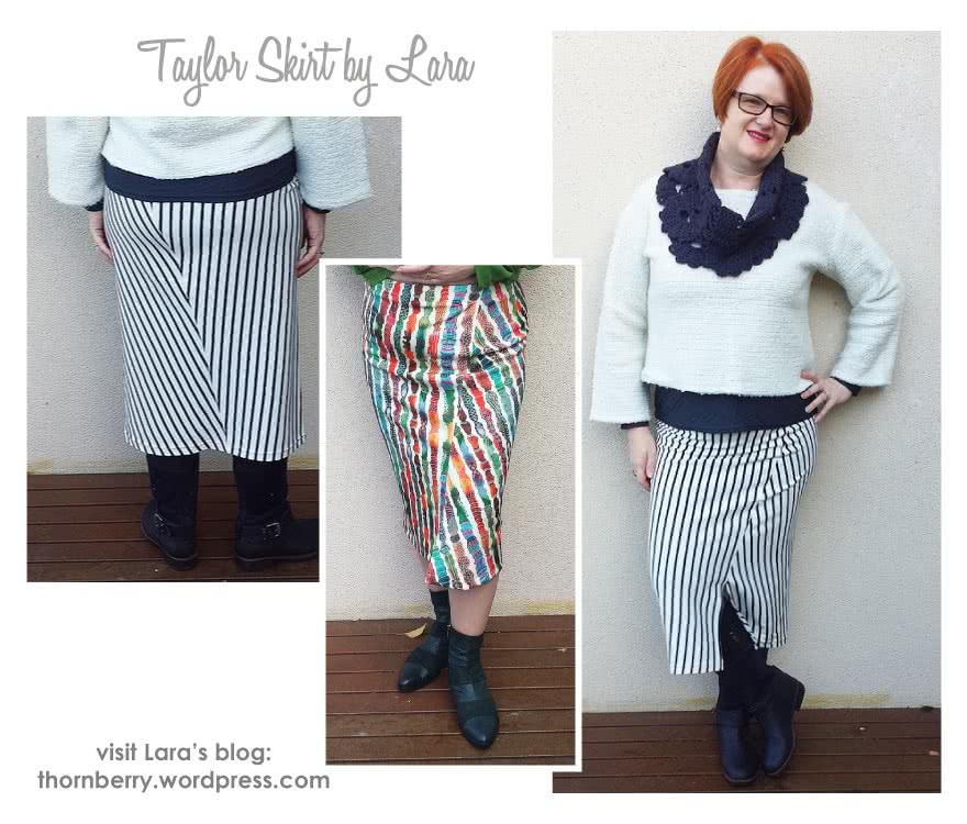 Taylor Knit Skirt Sewing Pattern By Lara And Style Arc - Pull-on tube skirt with angled design lines